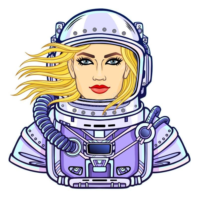 Retrato de la animación de la mujer atractiva joven del astronauta en un traje de espacio abierto stock de ilustración