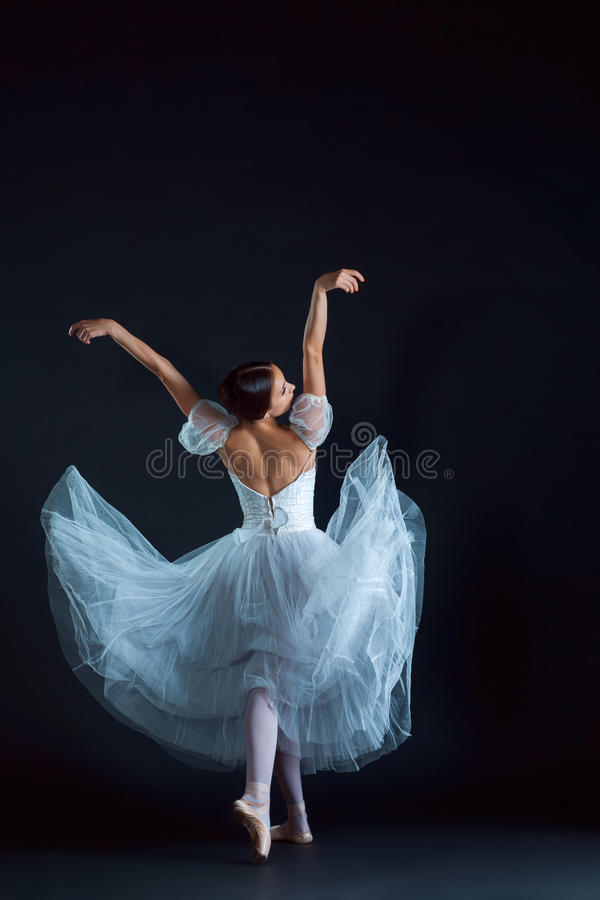 Retrato de la bailarina clásica en el vestido blanco en fondo negro imagenes de archivo