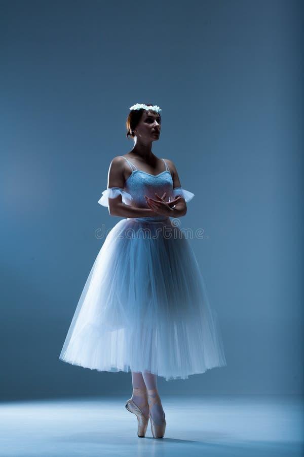 Retrato de la bailarina en fondo azul imagen de archivo libre de regalías