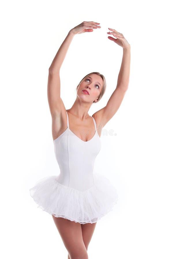 Retrato de la bailarina en tutú sobre blanco foto de archivo libre de regalías