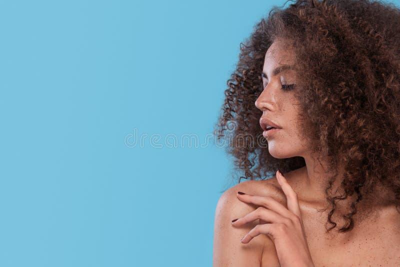 Retrato de la belleza de la muchacha con el peinado afro Muchacha que presenta en fondo azul Tiro del estudio imágenes de archivo libres de regalías