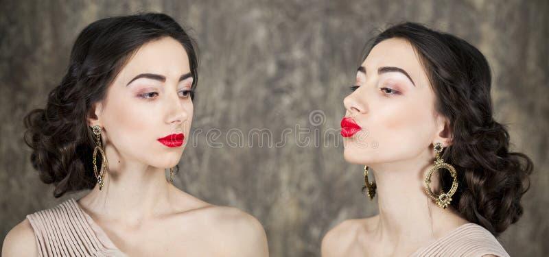 Retrato de la belleza de mujeres atractivas jovenes foto de archivo