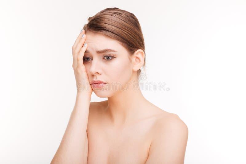 Retrato de la belleza de una mujer triste imagenes de archivo
