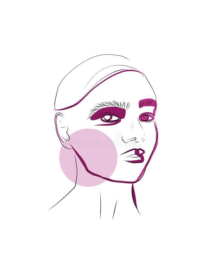 Retrato de la belleza de la mujer en estilo creativo moderno libre illustration