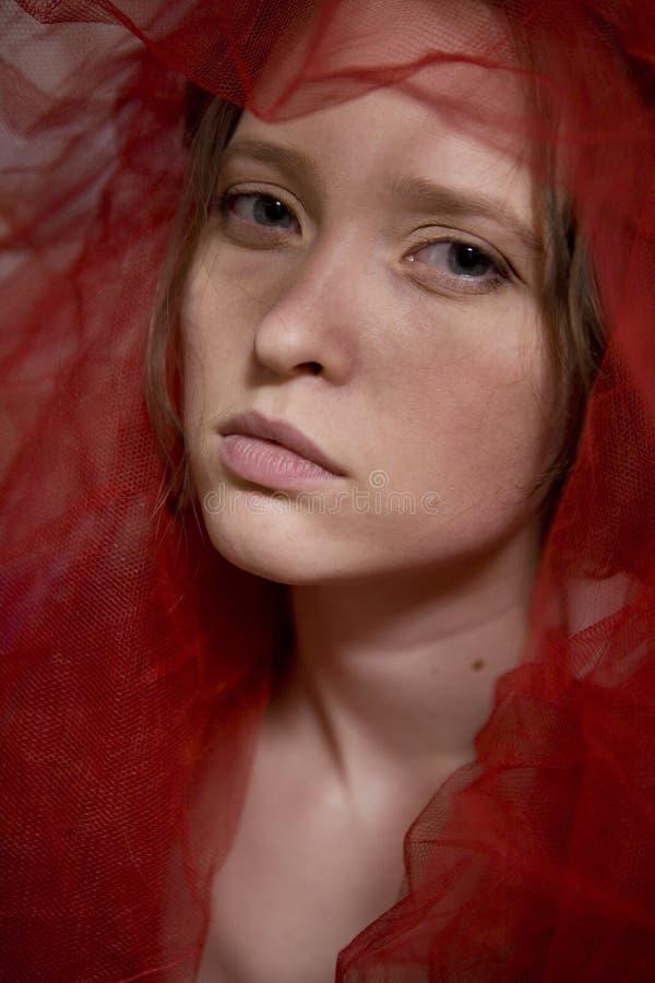 Retrato de la bufanda que enmarca de la muchacha seria imagen de archivo