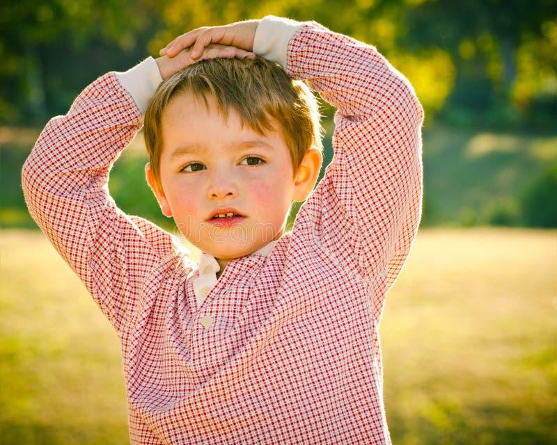 Retrato de la caída o del otoño de los jóvenes, muchacho del preschooler foto de archivo