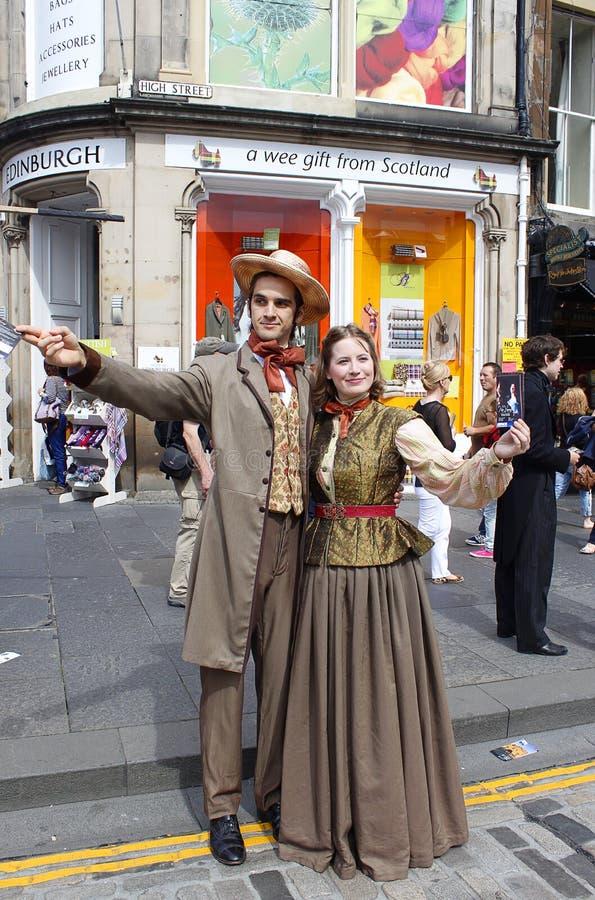 Retrato de la calle en la franja del festival de Edimburgo fotos de archivo