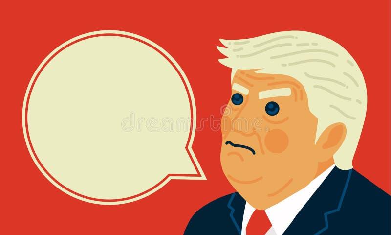 Retrato de la caricatura del ejemplo del vector de presidente Donald Trump libre illustration