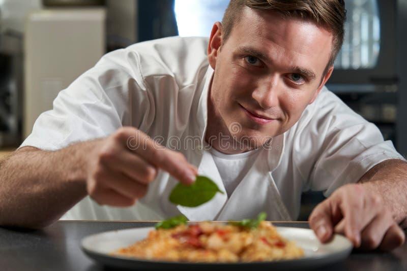 Retrato de la comida masculina de Garnishing Plate Of del cocinero en cocina profesional imagen de archivo libre de regalías