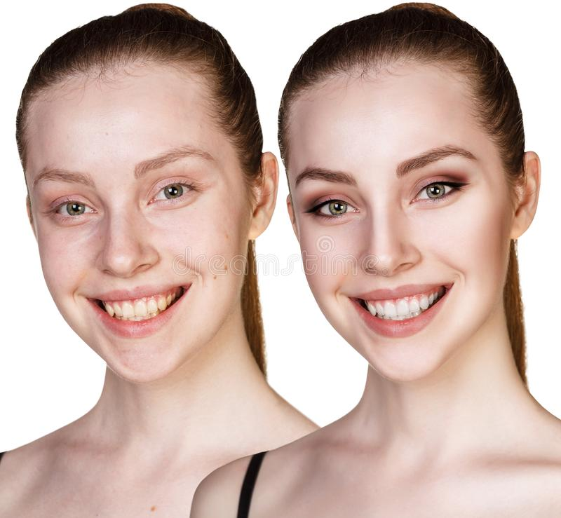 Retrato de la comparación de la mujer joven antes y después del maquillaje imagenes de archivo