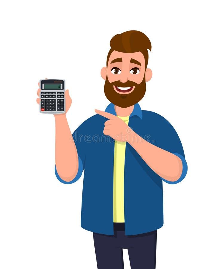 Retrato de la demostración vestida, barbuda joven, casual del hombre o de llevar a cabo un dispositivo digital de la calculadora  stock de ilustración