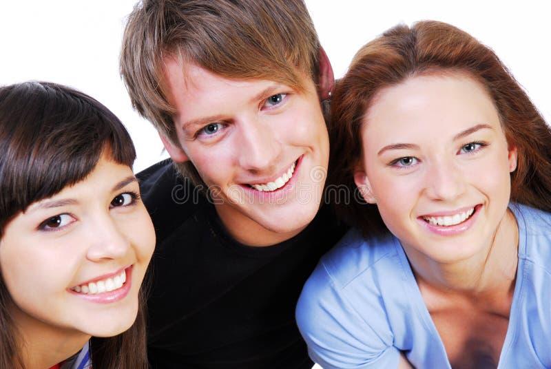 Retrato de la diversión tres estudiantes fotos de archivo