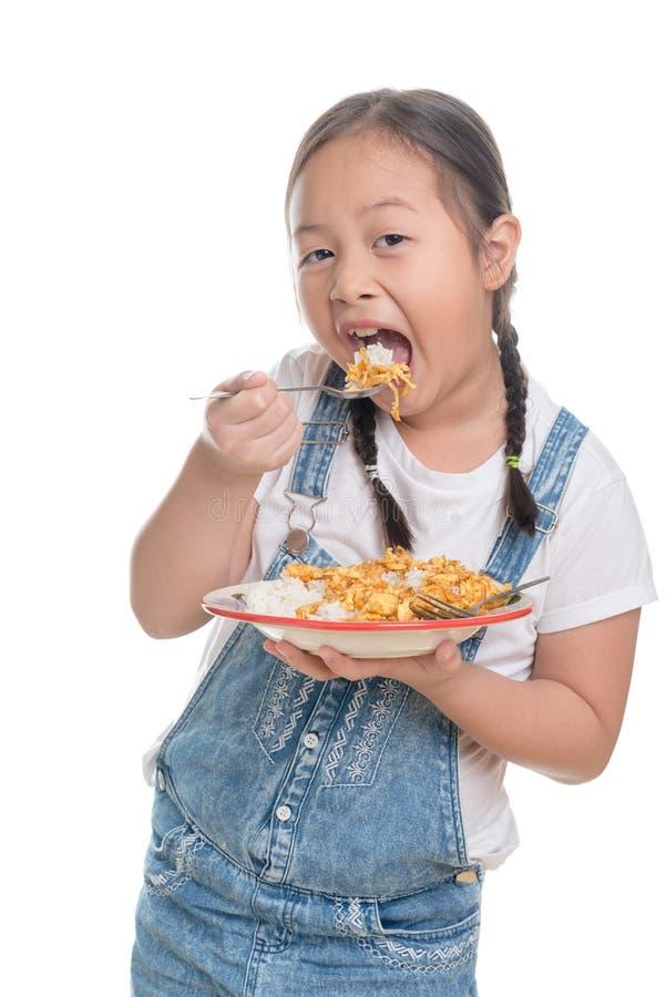 Retrato de la edad linda del niño asiático de la muchacha 7 años en el fondo blanco imágenes de archivo libres de regalías