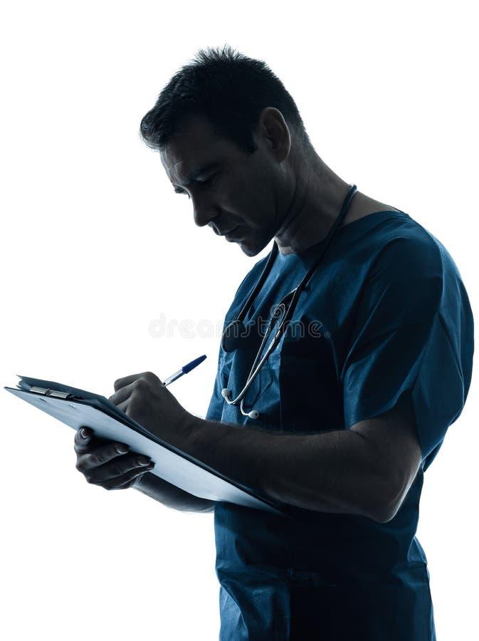 Retrato de la escritura de la silueta del hombre del doctor imágenes de archivo libres de regalías