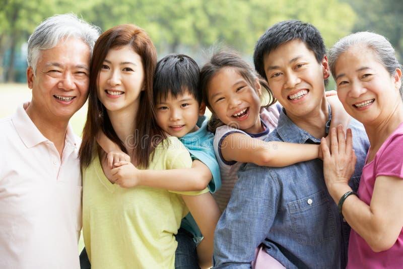 Retrato de la familia china multigeneración fotos de archivo