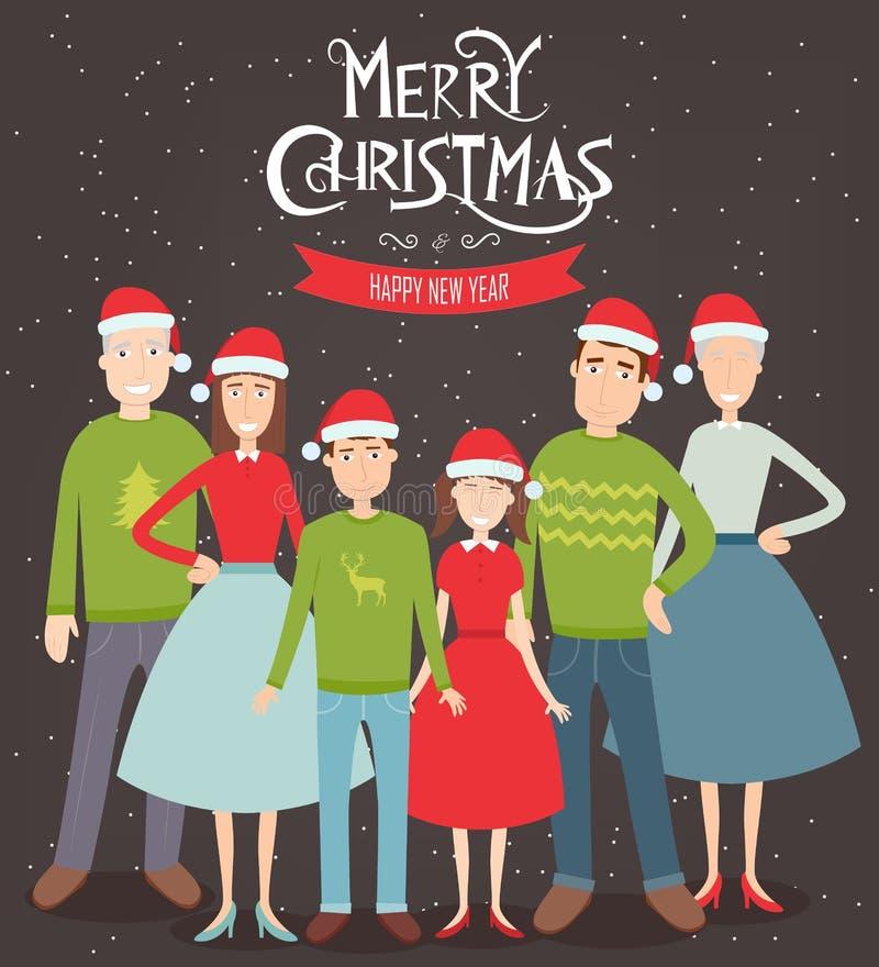 Retrato de la familia de la Navidad Días de fiesta de la familia Vector stock de ilustración