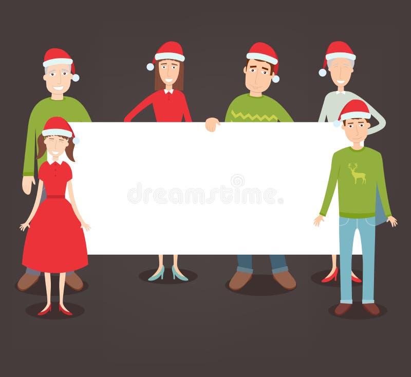 Retrato de la familia de la Navidad Días de fiesta de la familia Vector ilustración del vector