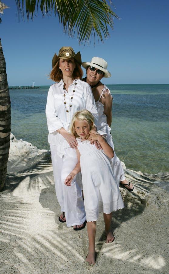 Retrato de la familia en la playa imágenes de archivo libres de regalías
