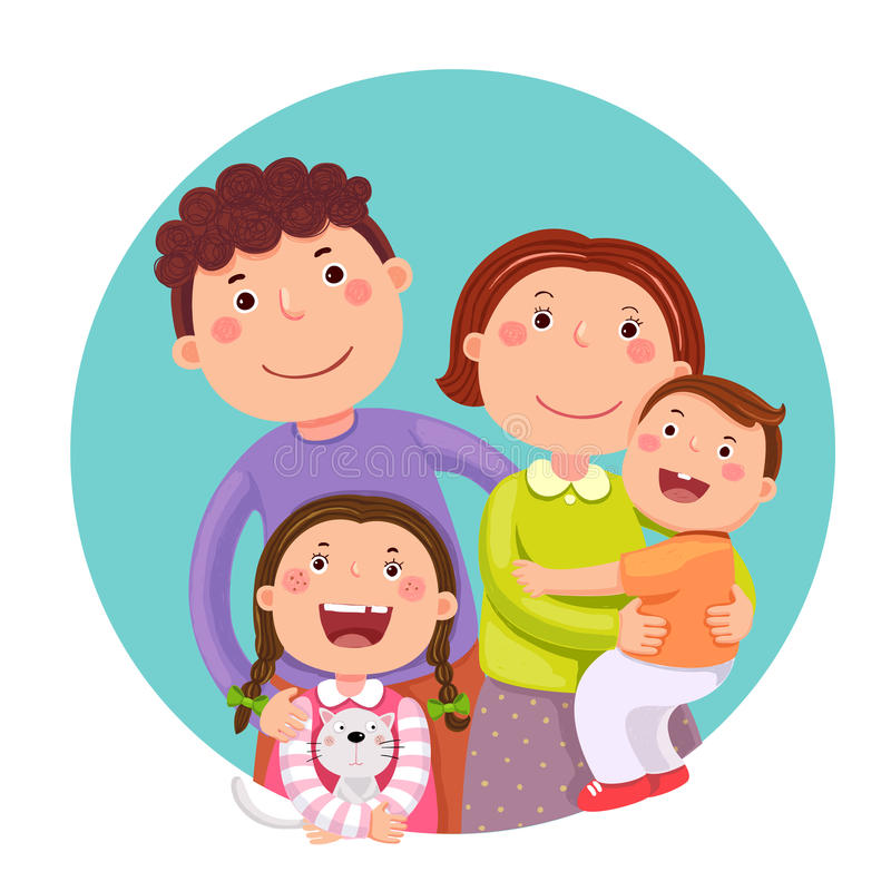 Retrato de la familia feliz de cuatro miembros que presenta junto Parents los wi libre illustration