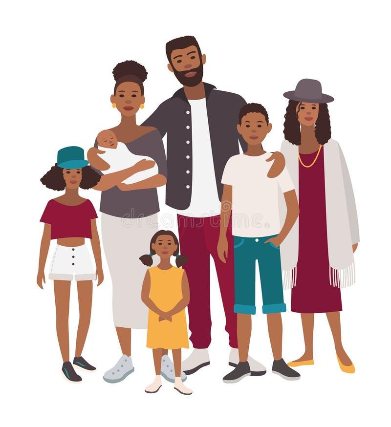 Retrato de la familia grande Madre africana, padre y cinco niños Gente feliz con los parientes Ejemplo plano colorido ilustración del vector
