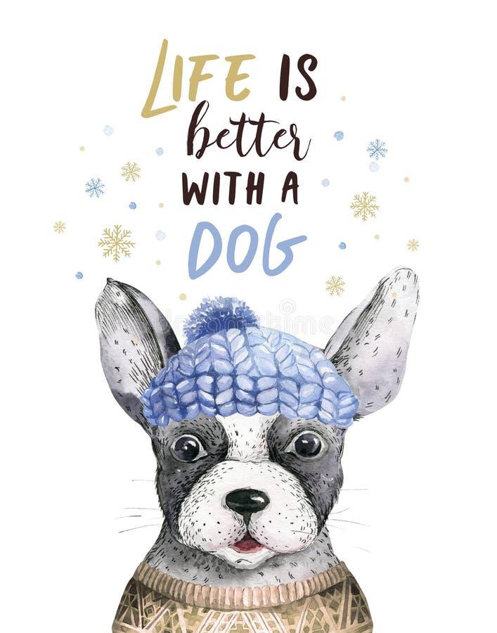 Retrato de la Feliz Navidad del primer de la acuarela del perro lindo Aislado en el fondo blanco Año Nuevo casero dulce dibujado  stock de ilustración