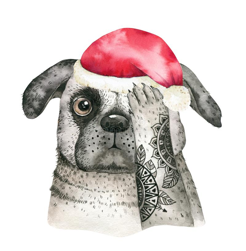 Retrato de la Feliz Navidad del primer de la acuarela del perro lindo Aislado en el fondo blanco Año Nuevo casero dulce dibujado  libre illustration