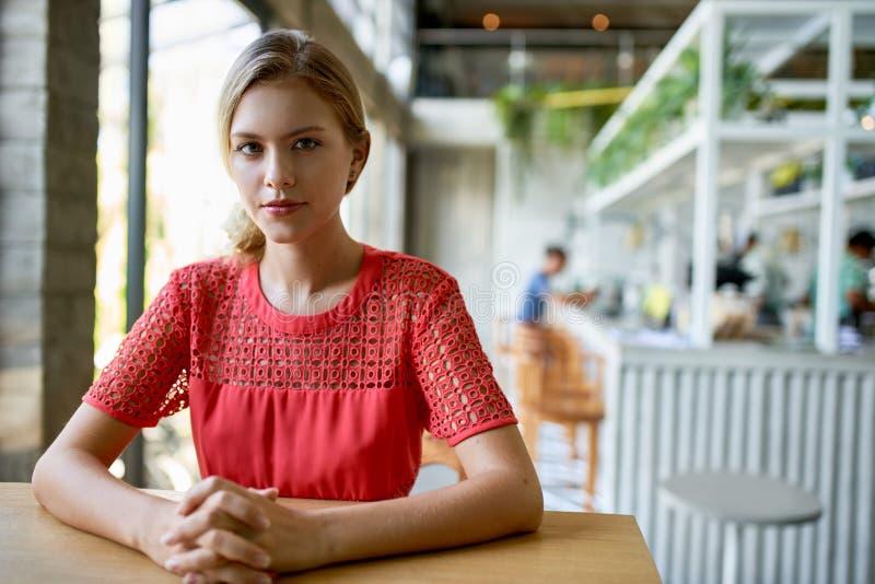 Retrato de la forma de vida de la empresaria milenaria de moda joven confiada con el pelo rubio que se sienta en la tabla de made fotos de archivo