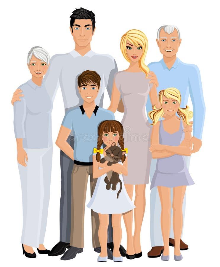 Retrato de la generación de la familia stock de ilustración