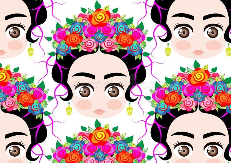 Retrato de la historieta del fondo, mujer mexicana del bebé de Emoji con la corona de flores coloridas, peinado mexicano típico ilustración del vector