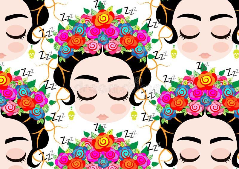 Retrato de la historieta del fondo, mujer mexicana del bebé de Emoji con la corona de flores coloridas, peinado mexicano típico stock de ilustración