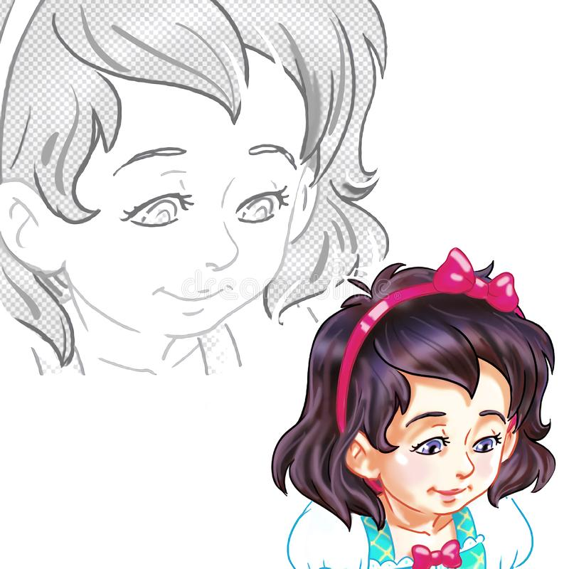 Retrato de la historieta del primer de una pequeña muchacha linda stock de ilustración
