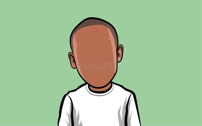 Retrato de la historieta de una media persona del cuerpo, con una cabeza grande stock de ilustración
