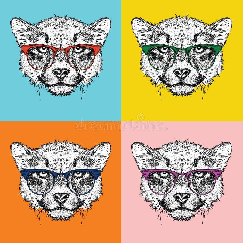 Retrato de la imagen del guepardo en los vidrios Ejemplo del vector del estilo del arte pop ilustración del vector