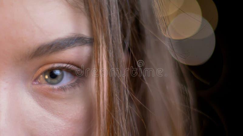 Retrato de la mitad-cara del primer de la hembra caucásica atractiva joven con el pelo moreno que mira derecho la cámara con el b fotografía de archivo