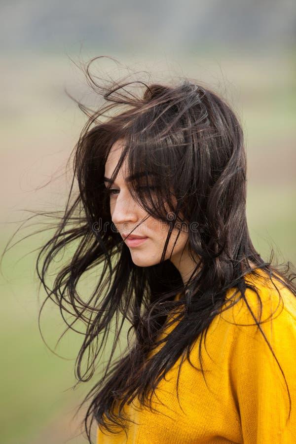 Retrato de la moda de la belleza de la muchacha morena hermosa joven con el pelo negro largo y los ojos verdes Retrato de la bell fotos de archivo