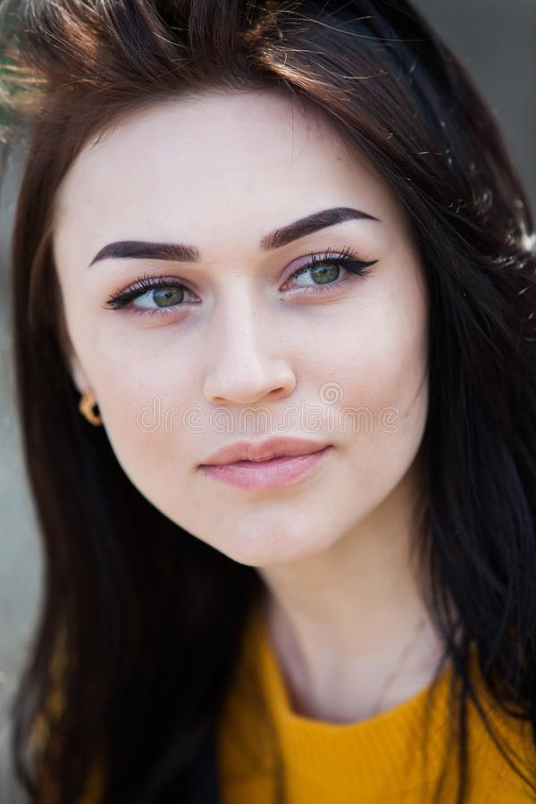 Retrato de la moda de la belleza de la muchacha morena hermosa joven con el pelo negro largo y los ojos verdes Retrato de la bell imagen de archivo
