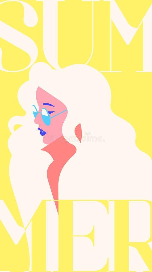Retrato de la moda del verano de una muchacha modelo del blondie con las gafas de sol Plantilla amarilla de moda retra de las his ilustración del vector