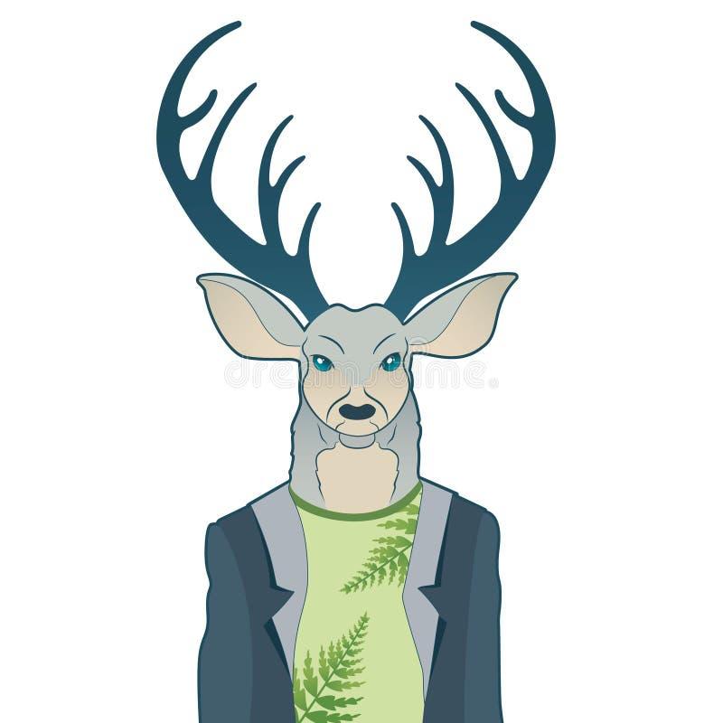 Retrato de la moda de los ciervos del inconformista El reno se vistió para arriba en la capa, carácter peludo del arte, animales  stock de ilustración