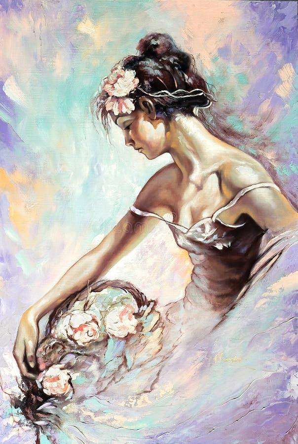 Retrato de la muchacha con flores ilustración del vector