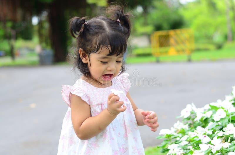 Retrato de la muchacha del niño de la hija del bebé en el festival de la flor de Bangkok Tailandia Asia del parque de rey Rama IX imágenes de archivo libres de regalías