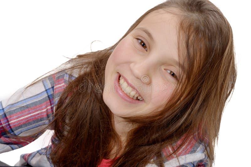 Retrato de la muchacha del preadolescente aislado en blanco imágenes de archivo libres de regalías