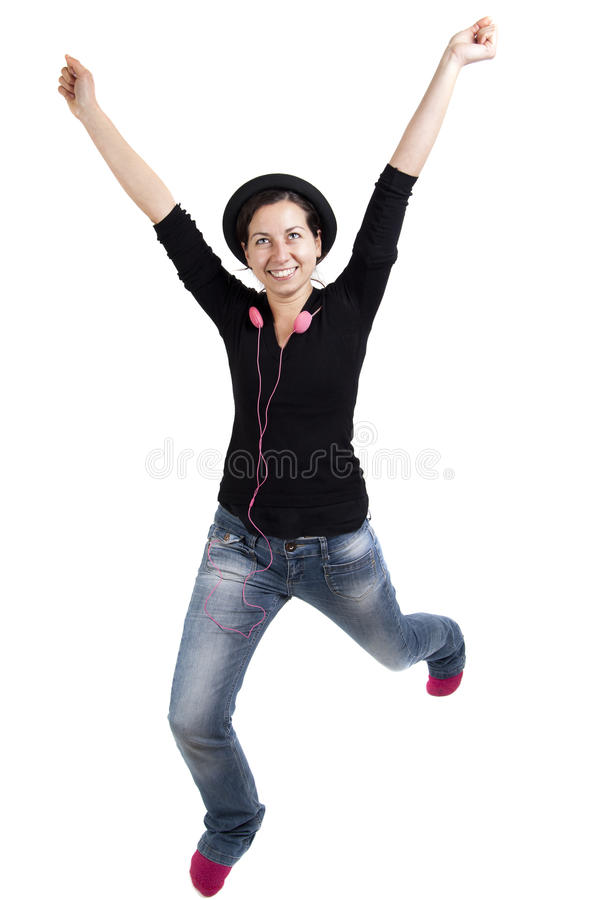 Retrato de la muchacha emocionada feliz imagenes de archivo