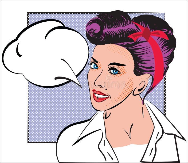 Retrato de la muchacha en arte pop del estilo, cómic, bosquejo Mujer con el pelo púrpura, peinado retro, en la camisa blanca, vin stock de ilustración