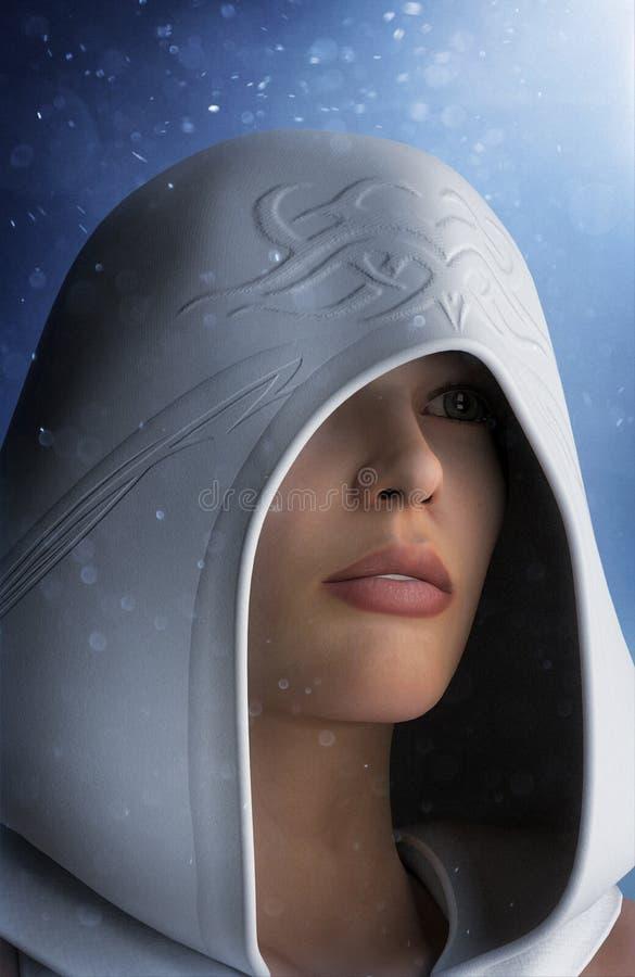 Retrato de la muchacha de la fantasía con la capucha blanca stock de ilustración