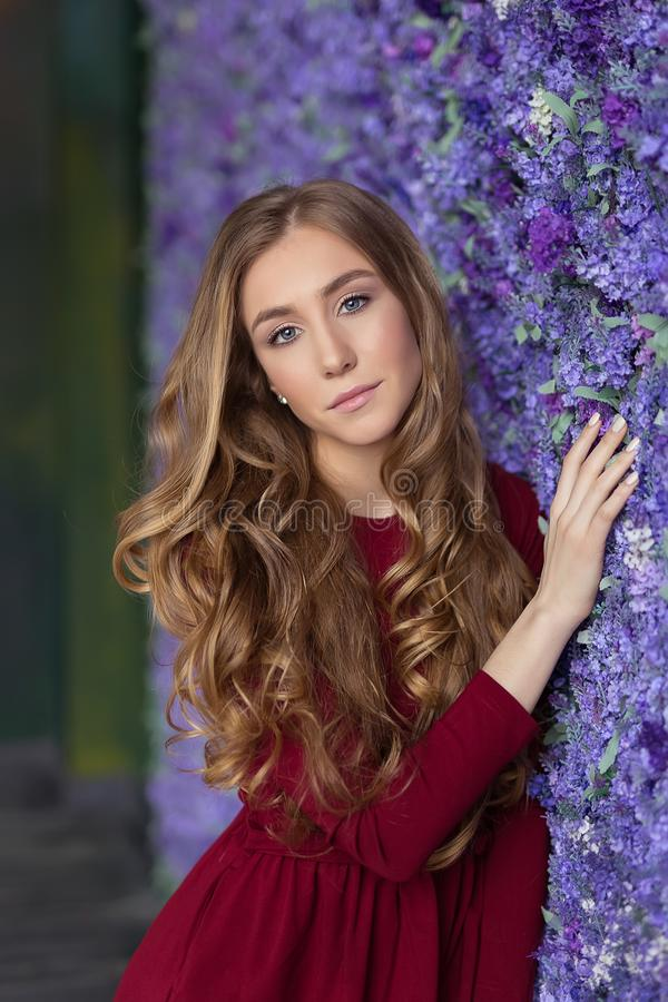 Retrato de la muchacha hermosa joven Moda estudio Mujer hermosa fotografía de archivo