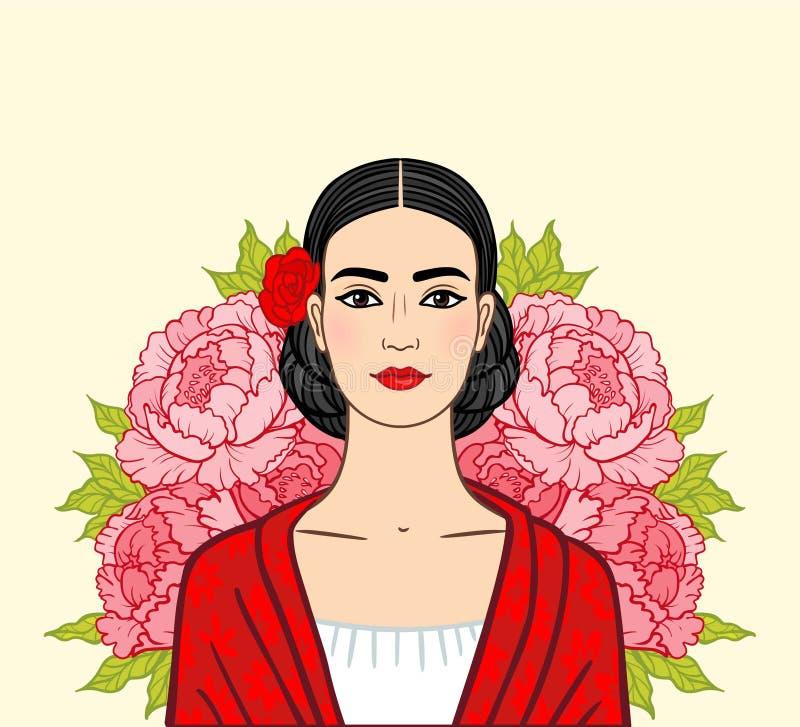 Retrato de la muchacha mexicana hermosa en ropa antigua, un fondo - las rosas estilizadas stock de ilustración