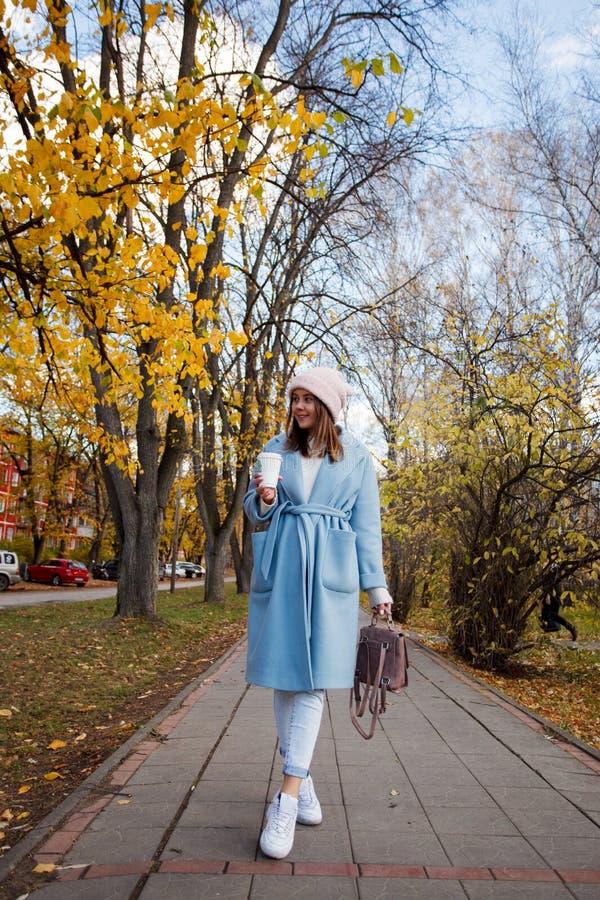 Retrato de la muchacha morena hermosa que camina abajo de la calle imágenes de archivo libres de regalías