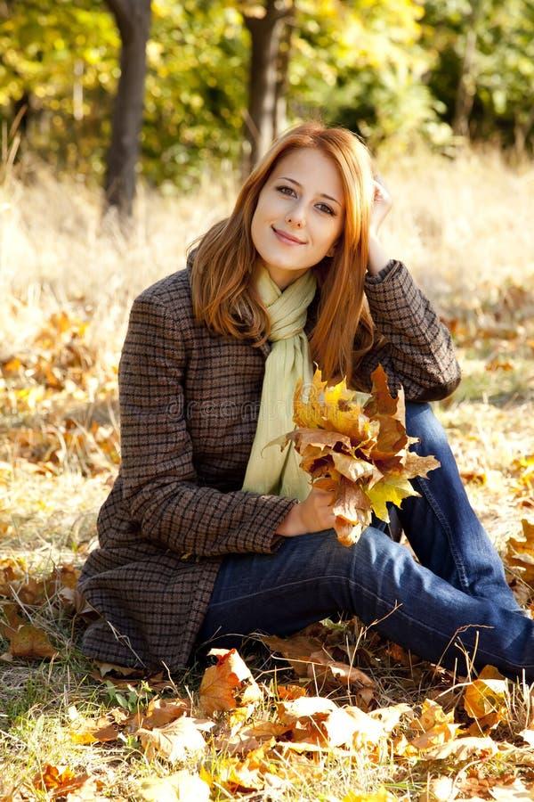 Retrato de la muchacha pelirroja en el parque del otoño fotografía de archivo