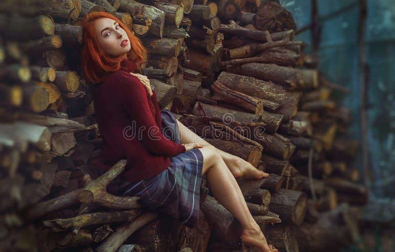 Retrato de la muchacha pelirroja hermosa i en un sitti caliente del suéter imágenes de archivo libres de regalías