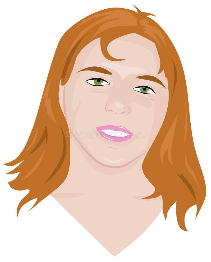 Retrato de la muchacha pelirroja joven libre illustration